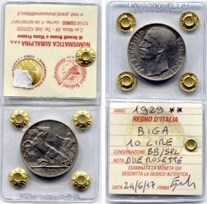 obverse: Regno d Italia. Vittorio Emanuele 3°. Lire 10 del 1929