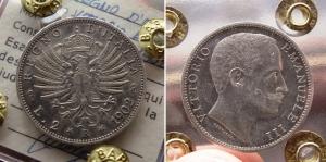 obverse: Regno d'Italia. Vittorio Emanuele 3° (1900-1943). Lire 2 1902 Aquila Sabauda. Pag. 148, Gig. 90. Ag. qFDC. Sigillata.