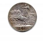 "reverse: Regno d'Italia. Vittorio Emanuele 3° (1900-1943). Lire 1 del 1913 ""quadriga veloce"". Ag. Discreta."