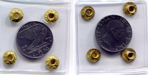 """obverse: Regno d'Italia. Vittorio Emanuele 3° (1900-1943). 50 Cent 1943 """"Impero"""". Ac. qFDC. R1. Sigillata."""