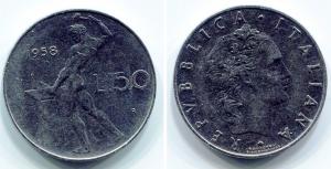 obverse: Italia. Lire 50 1958