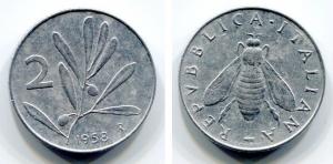 obverse: Italia. Lire 2 1958