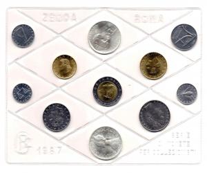 obverse: Italia. Folder Ufficiale del 1987 con 11 monete FDC (di cui due in argento). Il folder è senza confezione. Vedi foto per dettagli. (Val. Cat.: 70€)