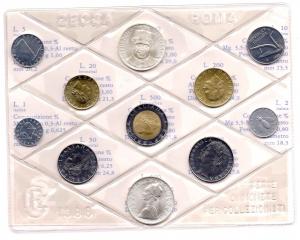 obverse: Italia. Folder Ufficiale del 1988 con 11 monete FDC (di cui due in argento). Il folder è senza confezione. Vedi foto per dettagli. (Val. Cat.: 165€)