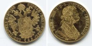 obverse: AUSTRIA. 4 Ducati 1915. Au (13,96 gr. - 39,7 mm.). Riconio, quasi tutti questi esemplari sono stati coniati successivamente alla data riportata.