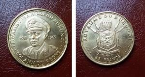 obverse: BURUNDI. 25 Francs 1965. MWAMBUTSA IV. / 50th ANNIVERSARY OF REIGN. Au / Gold (peso: 7,5 gr. - diam.: 21,5 mm.). Conservazione: FDC. NC.