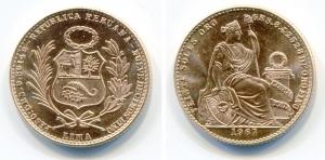 obverse: PERU'. 20 Soles 1967. Au (9,36 gr. – 23 mm.). SPL/FDC.