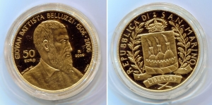 obverse: SAN MARINO. 50 Euro 2006. Giovan Battista Belluzzi. Au (16 gr.). FS. Chiusa in capsula di plastica. (val. da cat.: 900 €).