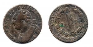 obverse: FRANCIA. Luigi XVI. 12 D. 1792. qBB. R1.