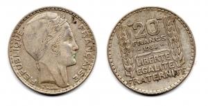 obverse: FRANCIA. 20 Franchi. 1933.