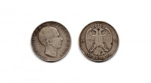 obverse: SERBIA. 50 Dinara. 1938. AG. NC.