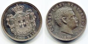 obverse: BRASILE. Carlos I. 1000 reis 1899. AG. Graffietti, segni leggeri di circolazione. BB/SPL. NC