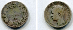 obverse: SERBIA. 1 Dinar del 1897. AG. MB. R1.