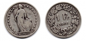 obverse: SVIZZERA. 1 Franco. 1905.