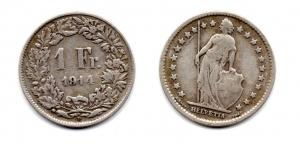 obverse: SVIZZERA. 1 Franco. 1914.
