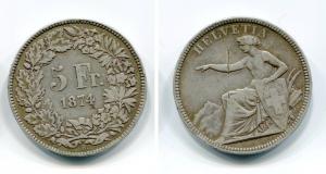 obverse: SVIZZERA. 5 Franchi 1874