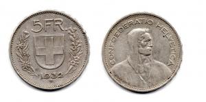 obverse: SVIZZERA. 5 Franchi. 1932.