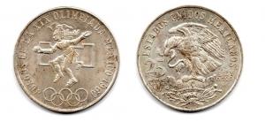 obverse: MESSICO. 25 LEY. Olimpiadi 1968.