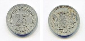 obverse: Gettone, Token. Francia. 1922. 25 C. Amiens. Cambre de Commerce. IT. BB