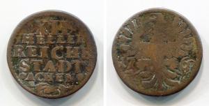 obverse: GERMANIA, stati. XII HELLER REICHS STADT ACHEN del 1760. Discreta