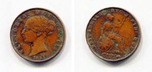 obverse: REGNO UNITO. 1851. 1 Penny 1851. Cu. MB. R2.