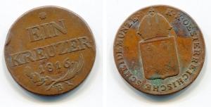obverse: AUSTRIA. Ein Kreuzer 1816 B. Cu. Discreta. Non Comune.
