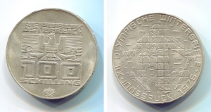 obverse: AUSTRIA. 100 Schiling 1976. Ag. SPL/FDC.