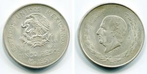 obverse: MESSICO. Cinco Pesos 1951. AG, oncia. SPL++.