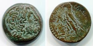 obverse: Re Tolemaici. Egitto, Alessandria. AE Bronzo (19,25 gr. – 28,3 mm.). D.\: testa diademata di Giove a destra. R.\: aquila su fulmine. BB. NC.