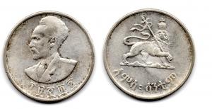 obverse: ETIOPIA. Haile Selassie I. 50 Cents 1943-44. AG (7 gr. - 25 mm.). Vedi foto per dettagli.