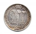 reverse: SAN MARINO. Vecchia monetazione. Lire 20 1931. AG. Discreta. NC.