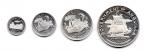 obverse: ANGUILLA. Lotto 04 Monete. 4, 2, 1 e Mezzo Dollaro. Argento. In folder ufficiale. (stima: 450 €)