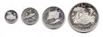reverse: ANGUILLA. Lotto 04 Monete. 4, 2, 1 e Mezzo Dollaro. Argento. In folder ufficiale. (stima: 450 €)