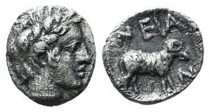 obverse: Troas, Neandria, 4th century BC. AR Obol (8mm, 0.32g, 3h). Laureate head of Apollo r. R/ Ram standing r. in shallow incuse square. SNG Copenhagen 446; SNG von Aulock 7628. Toned, Good VF. (ex Bertolami 39E - lot 191. Stima: 90€.)