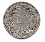 reverse: SVIZZERA. 20 C. 1883. Discreta.