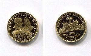 obverse: HAITI. 1974. 200 Gourdes del 1974 (Au 900 - 3 gr.). Moneta FS (Fondo Specchio). 50 Gourdes - argento 925 da 16,70 gr. Senza cofanetto o custodia. Coppia non comune da trovare.