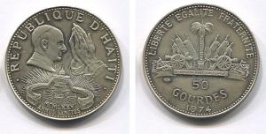 obverse: HAITI. 1974. 50 Gourdes del 1974 (AG 925 - 16,70 gr.). Molto affascinante.