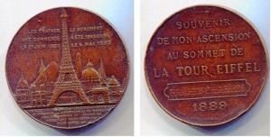 obverse: 1889 medaglia TOUR EIFFEL nominale (40,6 gr. - 41,4 mm.) con cofanetto