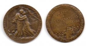 obverse: FRANCIA. Metz. Ai Liberatori. 1918. 45 mm. Discreta.