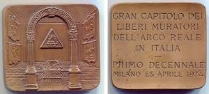 obverse: Milano 1974. Massonica. Piastra spessa, BU (5x4,6 mm. - 102 gr.). SPL/FDC.