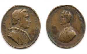 obverse: ITALIA. Medaglia. Carlo Alberto di Sardegna / Pio IX Pontefice eletto il 16 Giugno 1846.