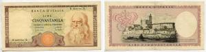 """obverse: Lire 50.000 del 1970 """"Leonardo"""". BB/SPL. R2. Con sua PERIZIA inclusa."""