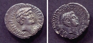 obverse: MARCO ANTONIO (32 a.C.). Roma. AR Denarius (3,25 gr. - 19 mm.). D.\: profilo di Marco Antonio. R.\: profilo di Ottaviano. BMC 121. BB. R.