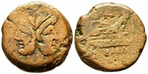 obverse: Anonimo (211 a.C.). Zecca incerta. AE Asse (28,17 gr. - 32 mm.). D.\: Testa di Giano bifronte. R.\: ROMA. MB.