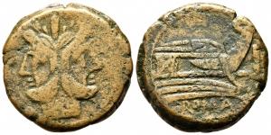 obverse: Anonimo (211 a.C.). Zecca incerta. AE Asse (18,25 gr. - 30 mm.). D.\: Testa di Giano bifronte. R.\: ROMA. qBB.