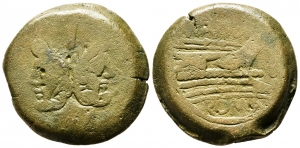 obverse: Anonimo (194-190 a.C.). Zecca incerta. AE Asse (23.66 gr. - 30 mm.). D.\: Testa di Giano bifronte. R.\: ROMA. MB.