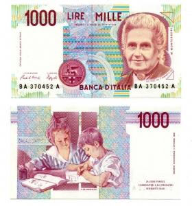 "D/ ITALIA. LIRE 1000. ""Montessori"". 1990. FDS."