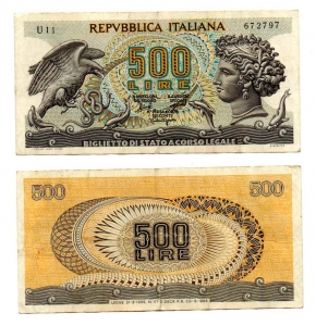 "D/ ITALIA. LIRE 500. ""Aretusa"". 1966. Discreta."