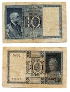 D/ ITALIA. Vitt. Em. III. LIRE 10. 1939. Discreta.