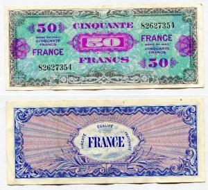 obverse: Francia. 50 Francs 1944. Bloc. 3. La banconota presenta segni di circolazione ma la conservazione è più che discreta. Non Comune.
